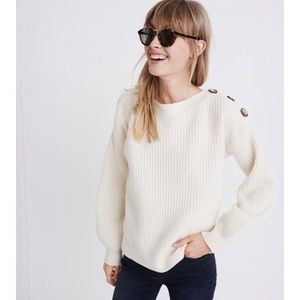 Madewell Boatneck Button-Shoulder Sweater